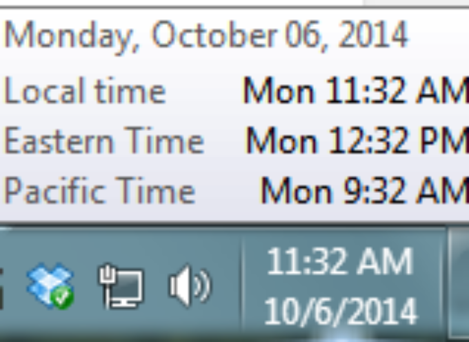 Windows Clocks in Three Time Zones